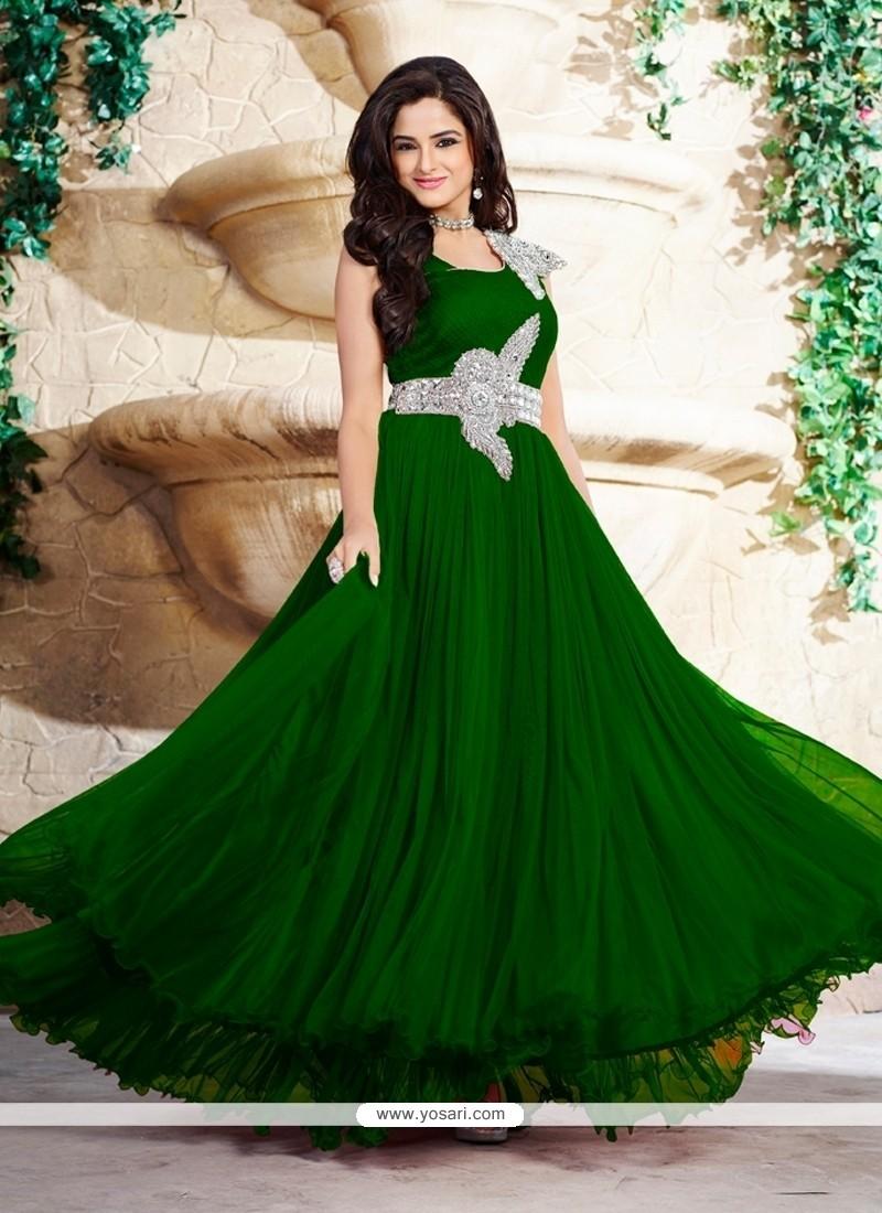 Shop online Vivacious Green Net Stone Work Designer Gown
