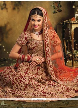 Elite Maroon Embroidery And Zari Work Velvet Lehenga Choli