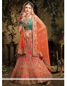 Fab Magenta And Green Hand Embroidered Raw Silk Lehenga Choli