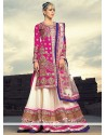 Magenta And Cream Embroidery Georgette Lehenga Choli