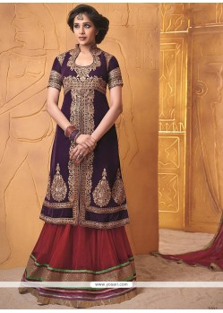 Stunning Purple Embroidery Work lehenga Choli
