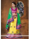 Yellow And Green Embroidery Border Work Net Lehenga Choli