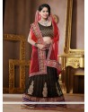Black And Red Embroidery Work Net Lehenga Choli