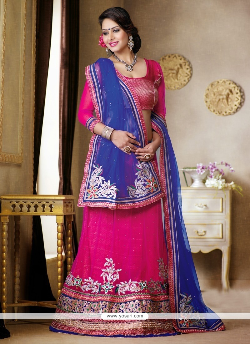 Hot Pink Resham Work Net Georgette Lehenga Choli