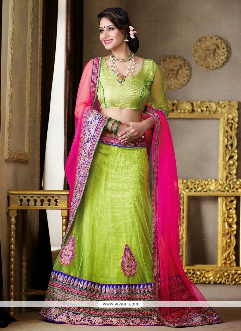 Mint Green Patch Border Work Net Lehenga Choli