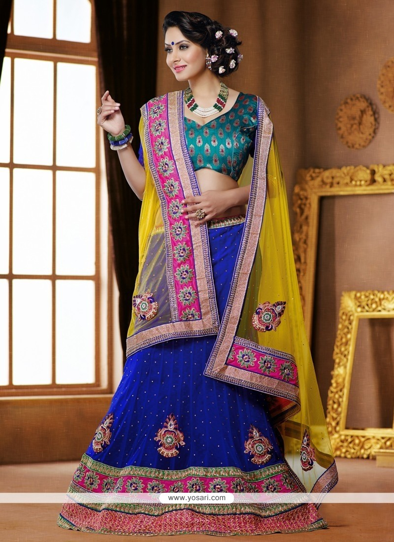 Royal Blue And Yellow Stone Work Net Lehenga Choli