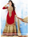 Markable Red And Cream Embroidery Work Lehenga Choli