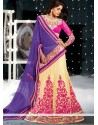 Pink And Beige Color Embroidery Work Lehenga Choli