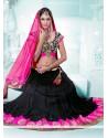 Amazing Black And Pink Embroidery Net Lehenga Choli