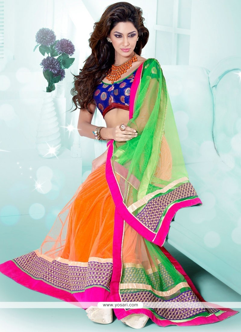 Dazzling Green And Orange Resham Work Net Lehenga Choli