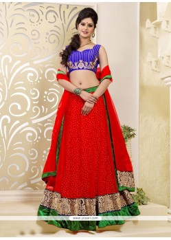 Charming Red Net A-Line Lehenga Choli