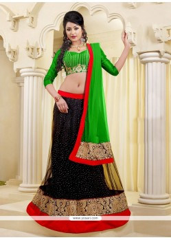 Captivating Black And Green Lehenga Choli