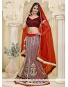Attractive Red and White Net A-Line Lehenga Choli