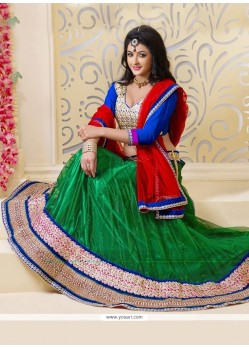 Fascinating Green Net Lehenga Choli