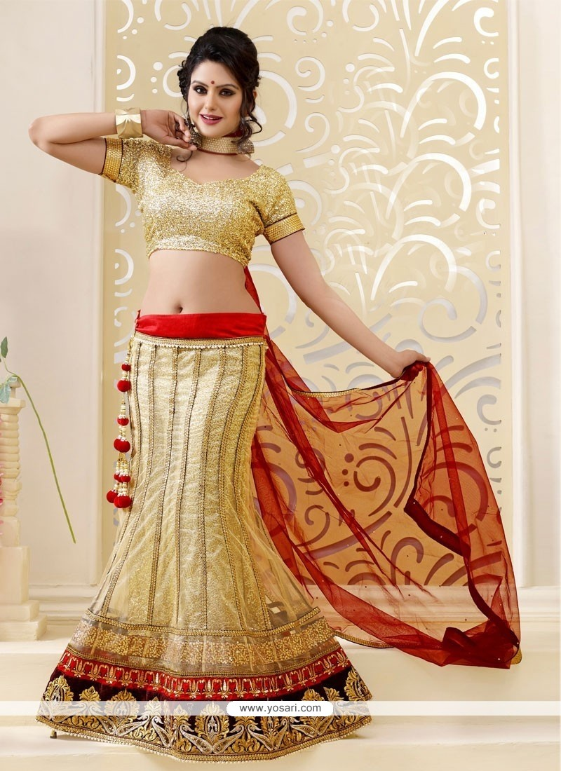 Opulent Cream Net Lehenga Choli