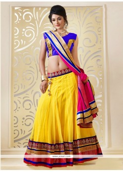 Astonishing Yellow Net Lehenga Choli