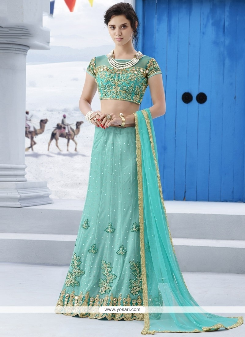 38cace569d Shop online Fetching Turquoise Patch Border Work Net A Line Lehenga ...