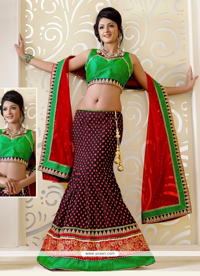 Remarkable Red Brocade Lehenga Choli