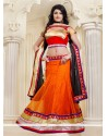 Striking Orange Net Lehenga Choli