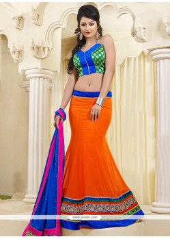 Alluring Orange Faux Georgette Lehenga Choli