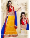 Vibrant Yellow And Red Net Lehenga Choli