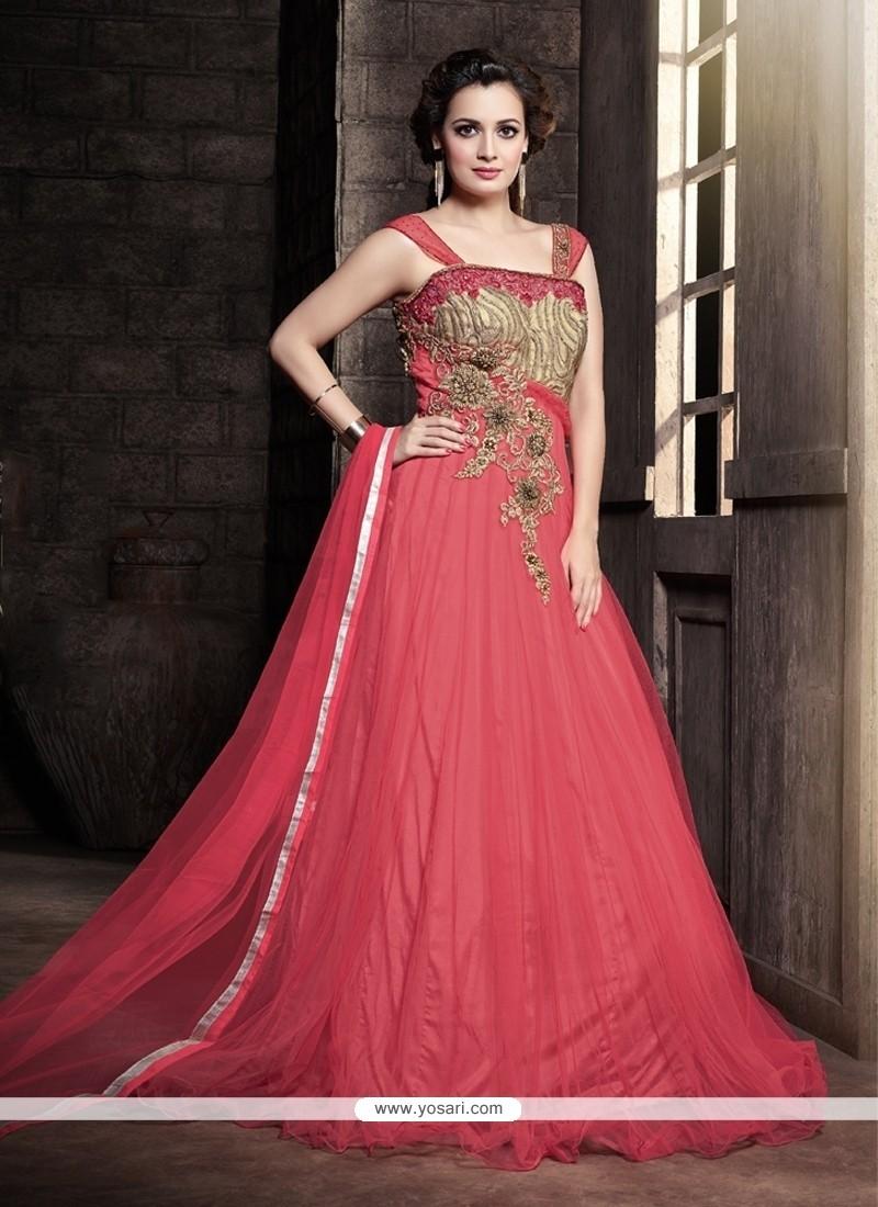 Shop online Splendid Hot Pink Resham Work Designer Gown