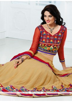 Beige Colour Border Work Lehenga Choli