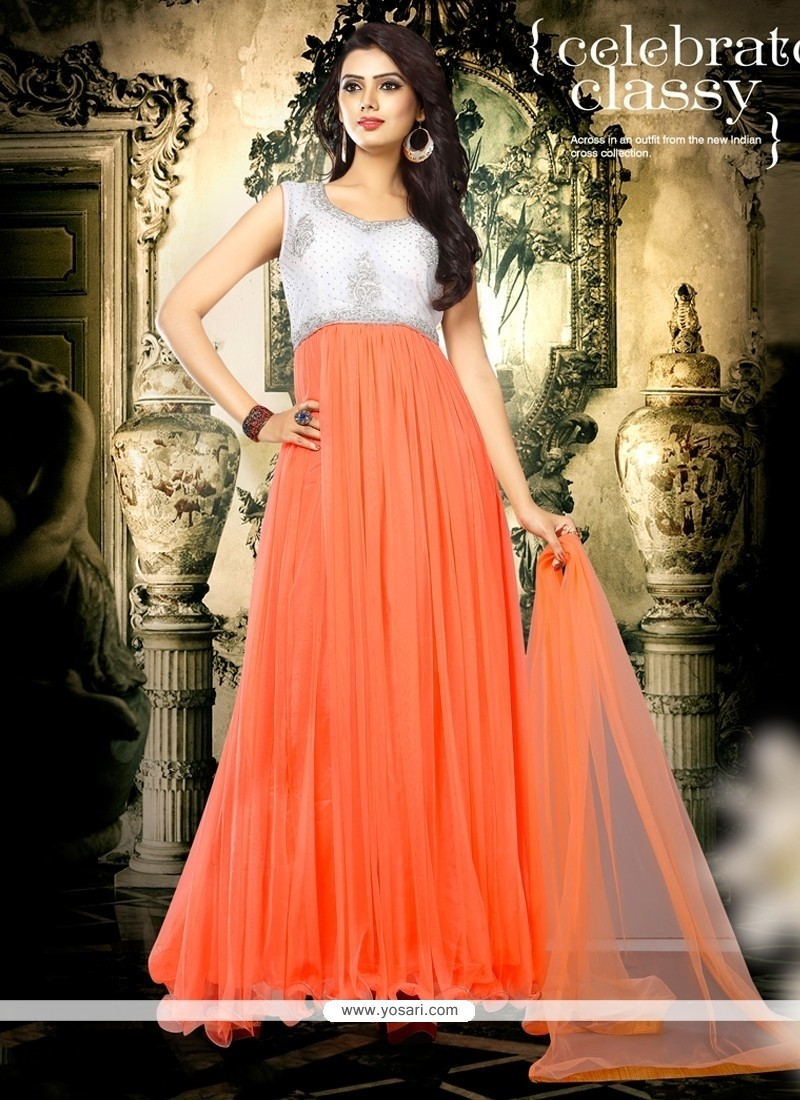 f879d1388f2 Shop online Net Orange Embroidered Work Designer Gown