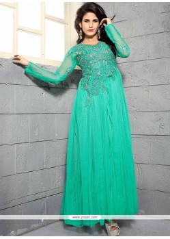 Dignified Net Sea Green Designer Gown