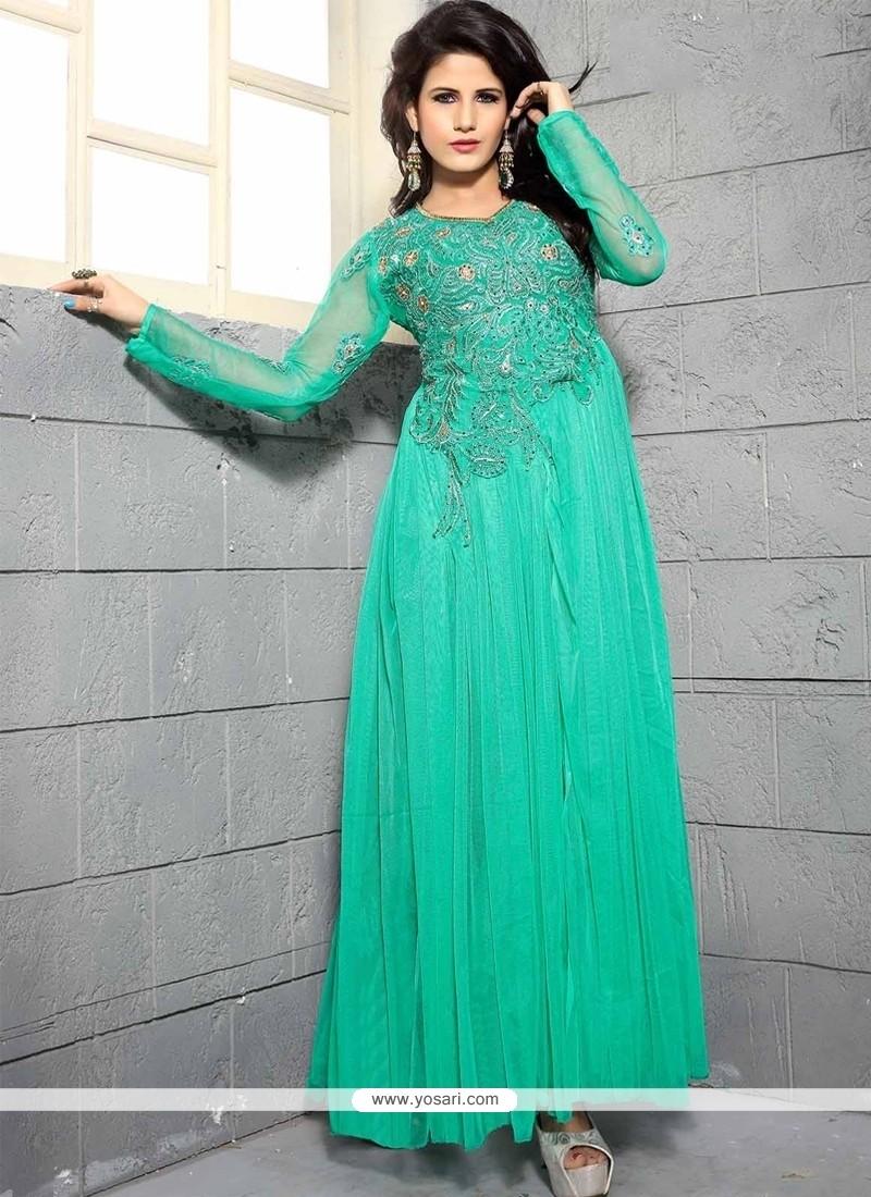 c3717b39de9c11 Shop online Dignified Net Sea Green Designer Gown