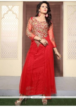 Riveting Net Embroidered Work Designer Gown