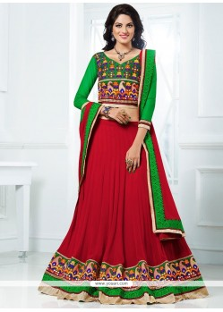Red And Green Faux Georgette Lehenga Choli