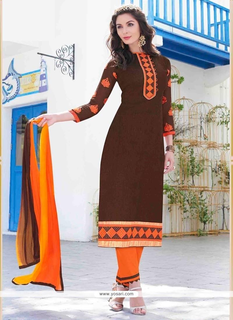 b384d9bd1c Shop online Trendy Brown Embroidered Work Cotton Churidar Designer Suit
