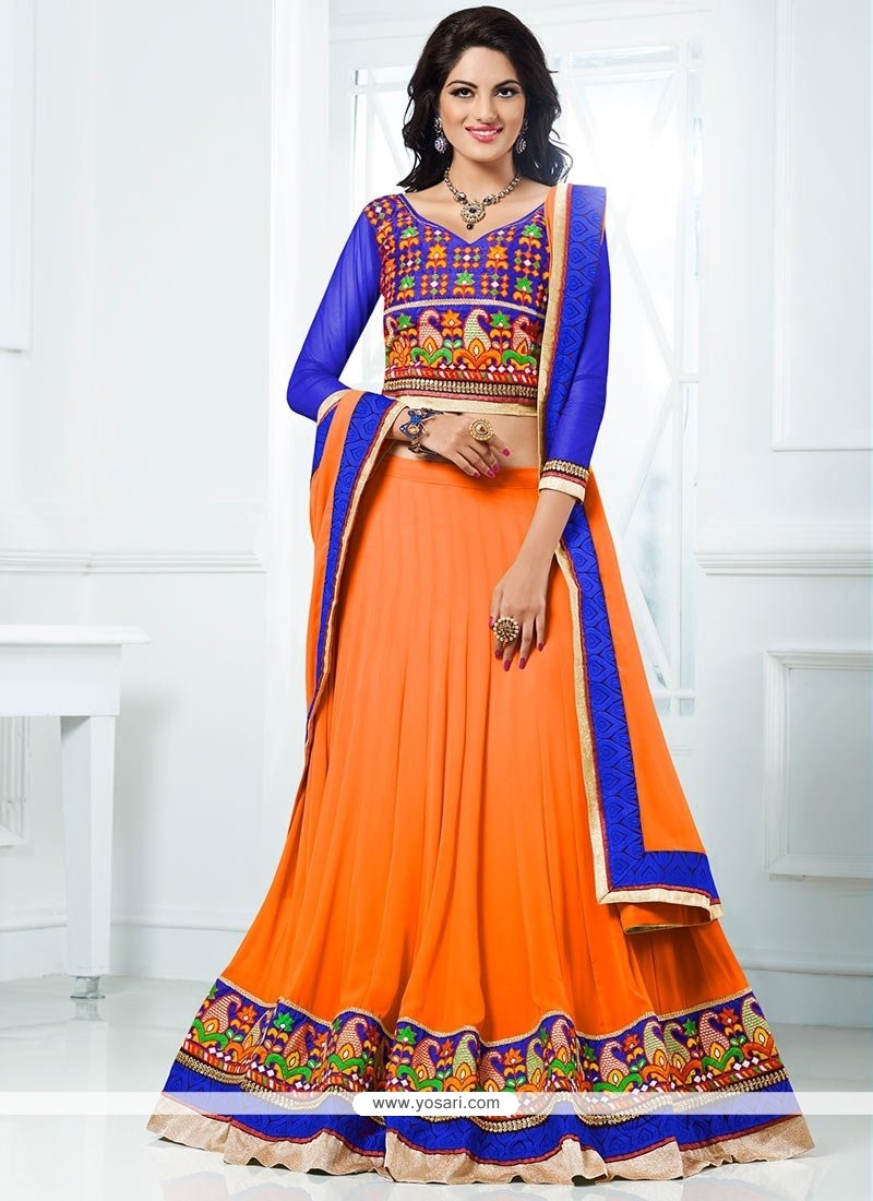 Orange Colour Border Work Lehenga Choli