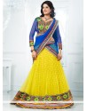 Yellow And Blue Embroidered Net Lehenga Choli