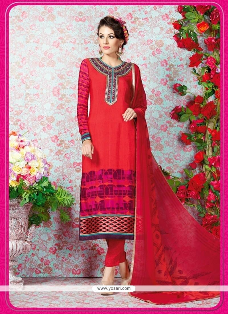 efa94c469f0 Shop online Fine Red Embroidered Work Faux Crepe Churidar Designer Suit