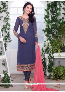 Distinctively Blue Resham Work Churidar Designer Suit
