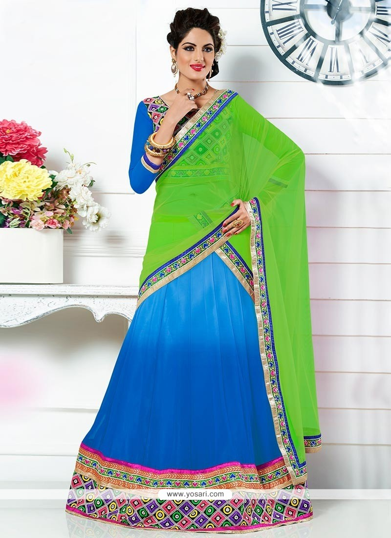 Blue And Green A-Line Lehenga Choli