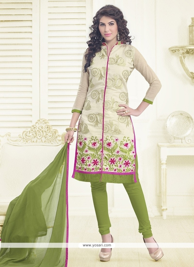 8b0d0a9612 Shop online Competent Chanderi Cotton Cream and Green Churidar ...