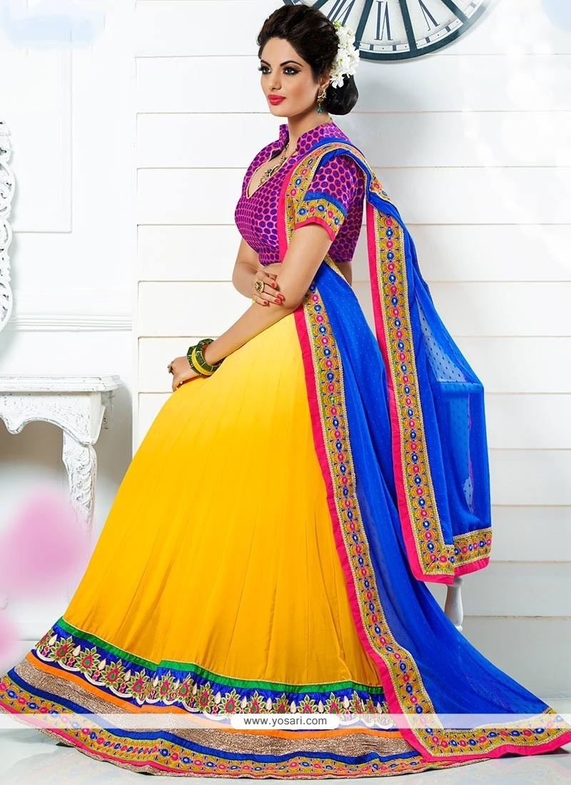 Striking Yellow A-Line Lehenga Choli
