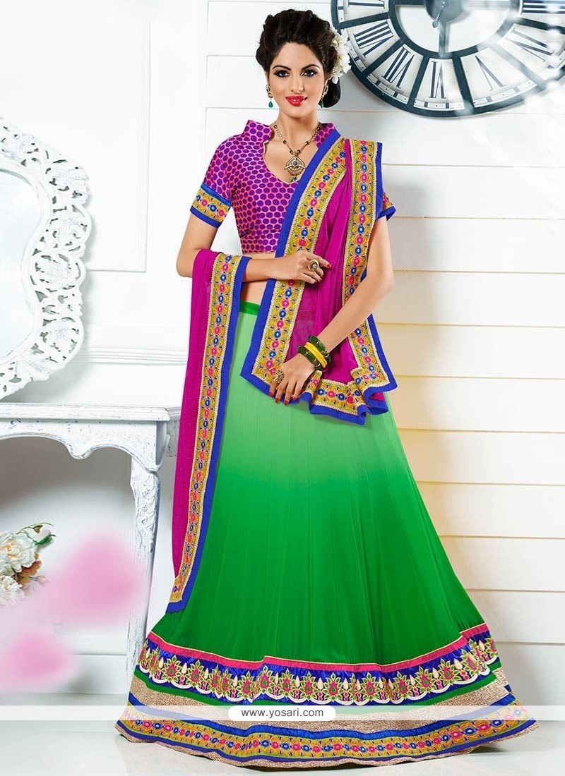 Green Colour Faux Georgette Lehenga Choli