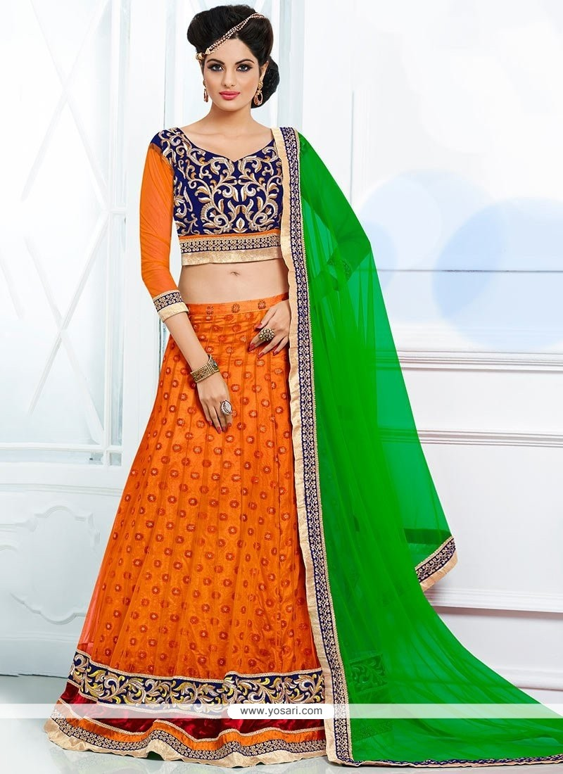Orange Colour Butti Work Lehenga Choli