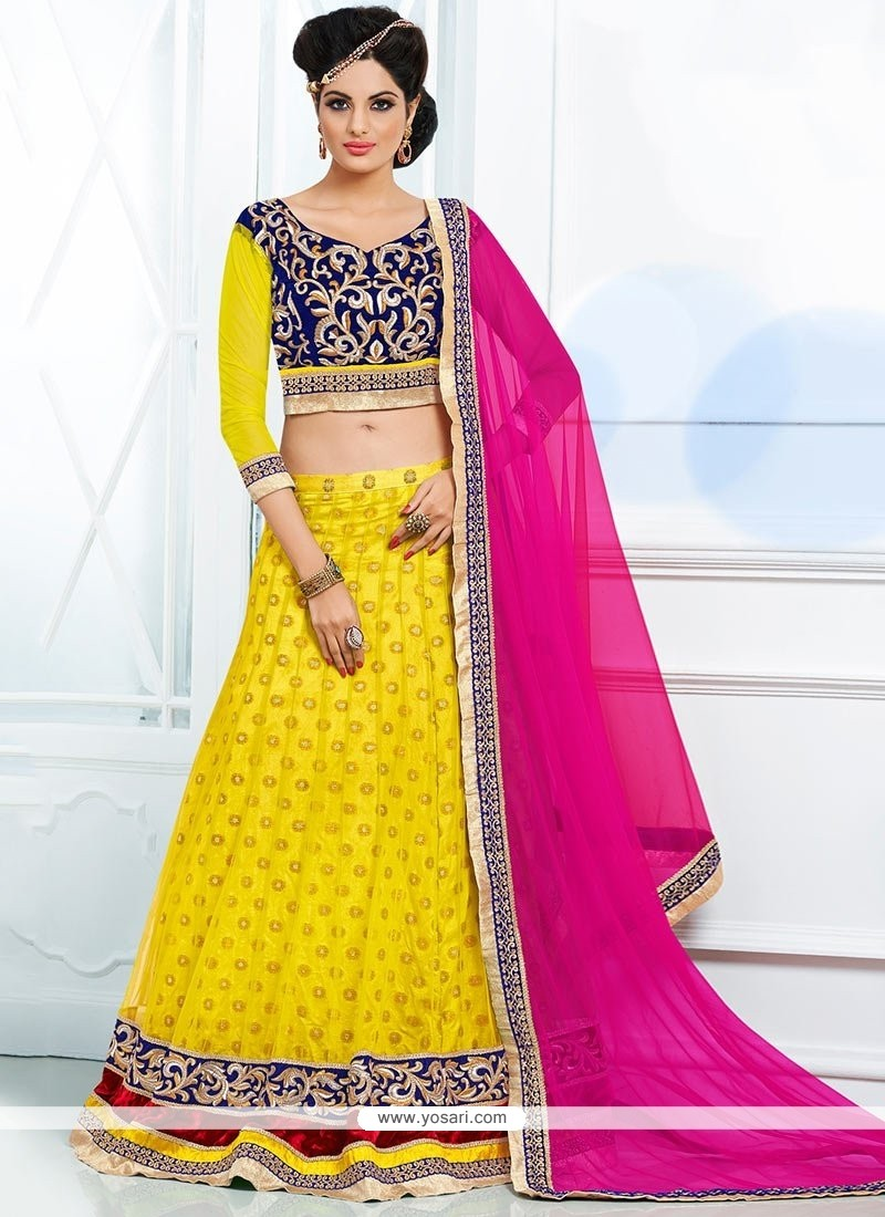 Yellow shaded Hemline Work Lehenga Choli