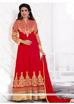 Dainty Georgette Red Embroidered Work Anarkali Salwar Kameez