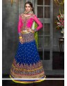 Royal Blue Embroidery Work Faux Georgette Lehenga Choli