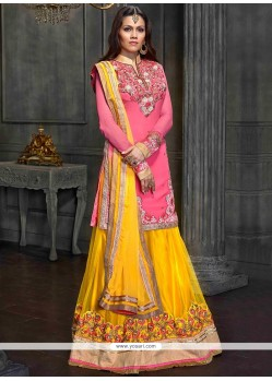 Pink And Yellow Resham Work Shaded Georgette Lehenga Choli