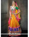 Yellow Shaded Embroidery Bhagalpuri Silk Lehenga Choli