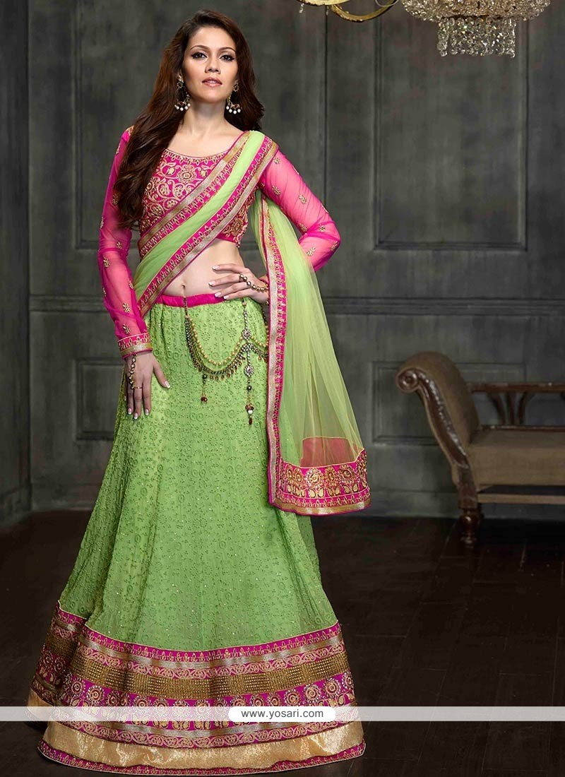 Angelic Green Shaded Resham Work Georgette Lehenga Choli