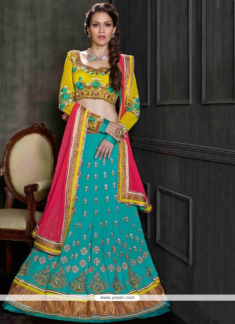 Teal And Yellow Embroidery Shaded Georgette Lehenga Choli