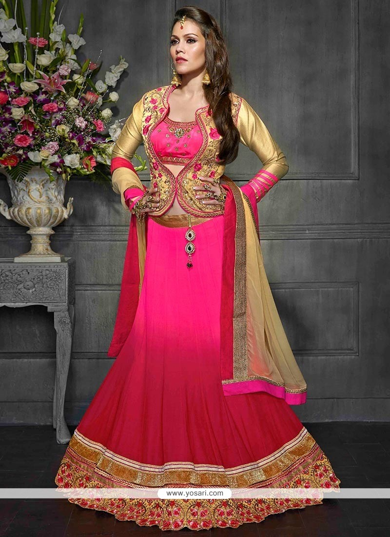 Admirable Pink And Red Embroidery Work Georgette Lehenga Choli
